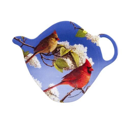 Cardinals Tea Bag Holder Ashdene New Melamine Teapot Shape Birds Flowers Blue