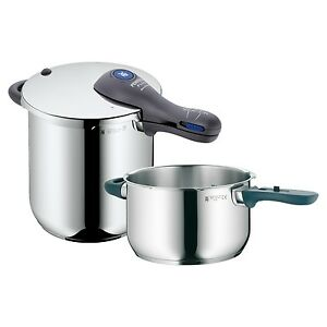 WMF-Perfect-Plus-3-pc-Pressure-Cooker-Set-18-10-Stainless-Steel-8-5-Qt-4-5-Qt