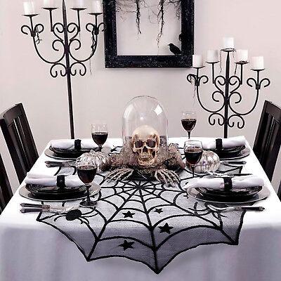 Halloween Spinnennetz Runde Spitze Tischdecke Grusel Horror Tisch Dekoration