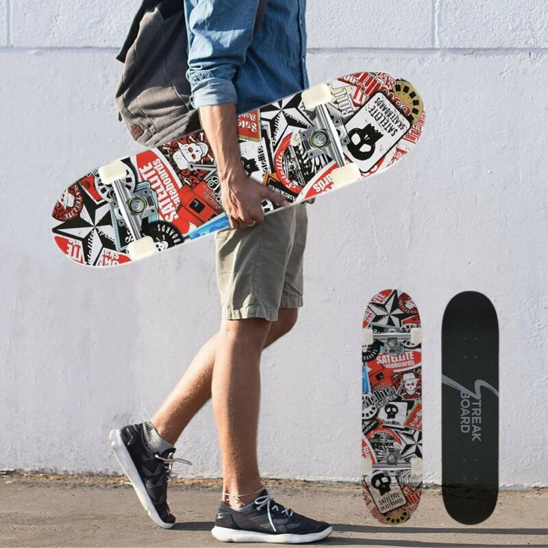 """31""""x 8"""" Complete Tricks Skateboard 7 Layer Canadian Maple Double Kick Concave US"""