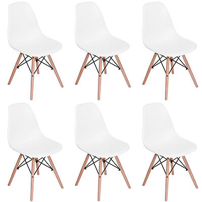 Christmas Sale Set of 6 Eames Style Lounge Dining Chair Plastic Cover Wood feet
