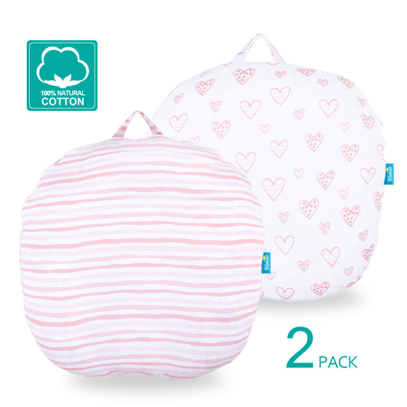 Newborn Lounger Pillow Cover 100% Cotton Stretchy Removable Slipcover 2 Pack