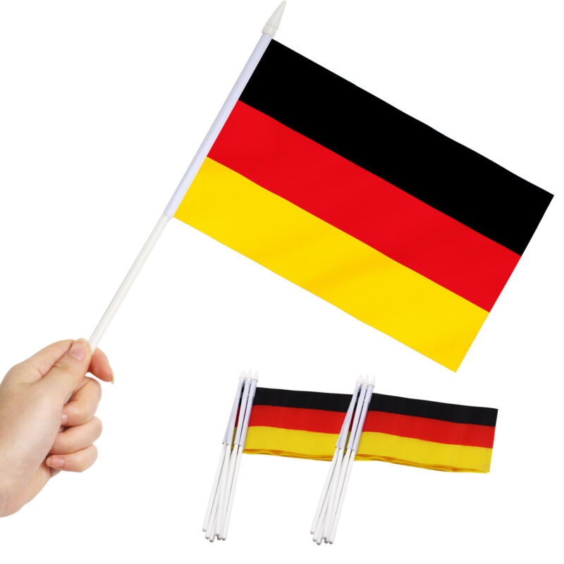 Anley Germany Mini Flag 12 Pack  Hand Held Small Miniature German Flags on Stick