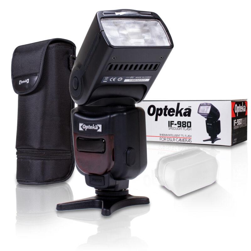 Opteka IF-980 i-TTL AF Dedicated Flash w Bounce Zoom Tilt LCD Display for Nikon
