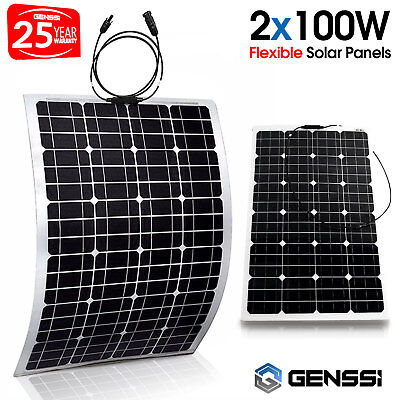 Two 100W Flexible 18V Semi Solar Panel Battery Charger For Home RV Boat