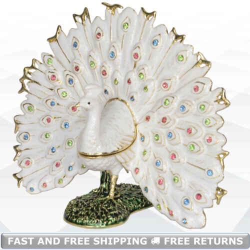 Peacock Bird Decorative Trinket Box With Hinged Lid Enamel Bejeweled Rhinestone
