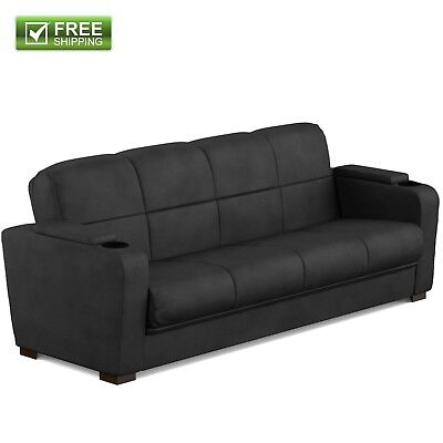 CONVERTIBLE SOFA BED COUCH BLACK MICROFIBER STORAGE ARM FULL SIZE BED FURNITURE Black Microfiber Couch