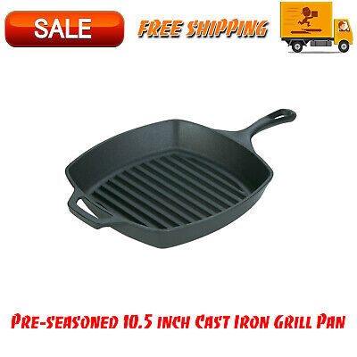 Pre-seasoned 10.5 inch Cast Iron Grill Pan with Assist Handle, Kitchen Cookware