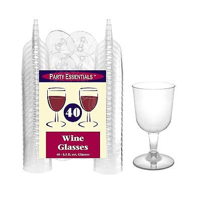 Plastic Wine Glasses Champagne Flutes Wedding Party Disposable Cups 40pcs Clear - Champagne Cups