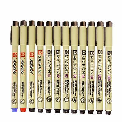 12 Pcs Pigment Liner Pigma Micron Ink Fine Line Pen Set 003 005 01 02 03 04 05 (Pigment Ink Pen)