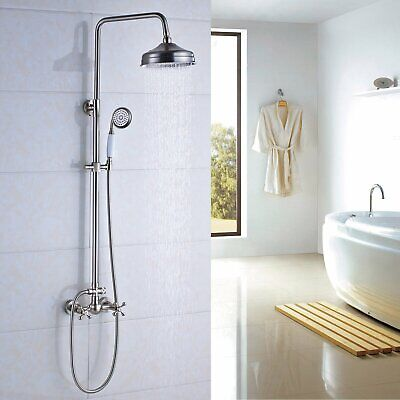 8 Inch Rainfall Shower Faucet System Mixer Hand Sprayer Mixer Tap Brushed Nickel
