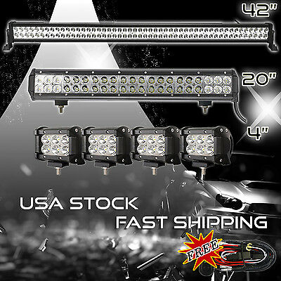 42Inch LED Light Bar Combo + 20in +4