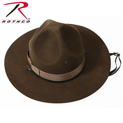 - ( 73/8 ) Military Style Trooper Brown Drill Sergeant Wool Felt Campaign Hat 5655