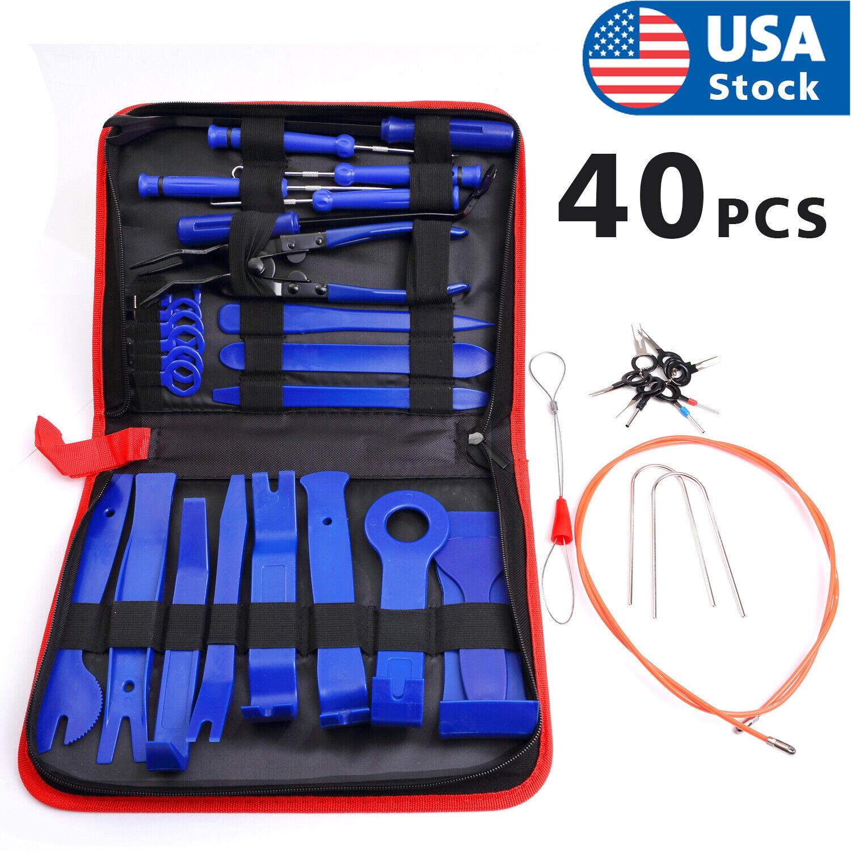 40pc Car Trim Removal Tool Pry Kit Auto Panel Tool Set Radio Removal Tool Kit US Automotive Tools & Supplies