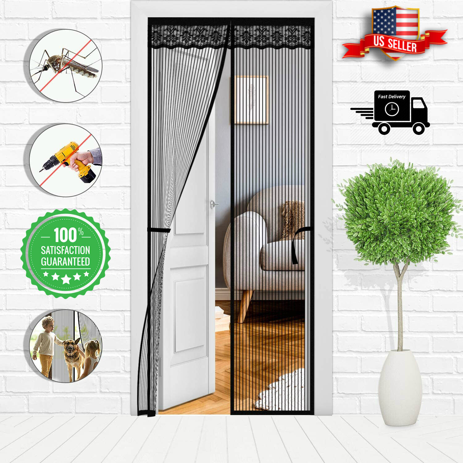 Magnetic Magic Screen Door Mesh Curtain Durable Hand Free Mo