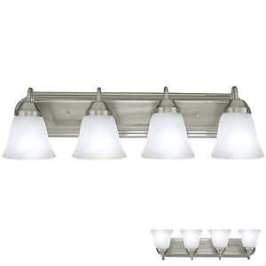 Brushed Nickel Four Globe Bathroom Vanity Light Bar Bath Fixture Alabaster  Glass
