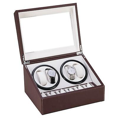 Brown Leather Watch Winder Storage Auto Display Case Box 4+6 Automatic Rotation