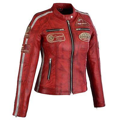Motorrad Damen LederJacke Retro Cafe Racer Vintage Leder Jacke Damen Mode Jacke