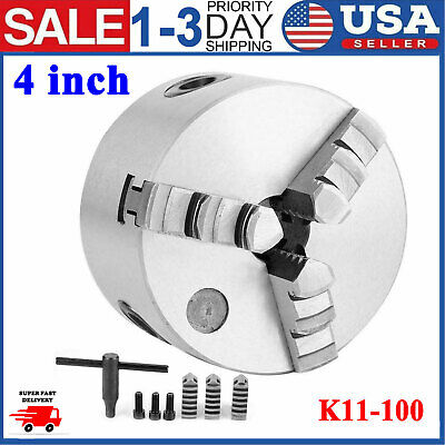 3 Jaw Lathe Chuck 4 Inch Self Centering Plain Back Precision Hardened Steel Usa