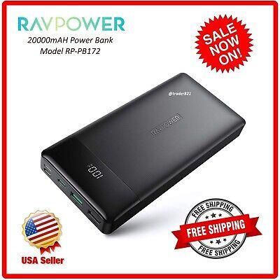 RAVPower Portable Charger 20000mAh PD 3.0 Power Bank QC 3.0 18W USB C RP-PB172