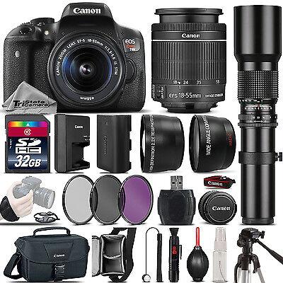 Canon EOS Rebel T6i 750D DSLR Camera + 18-55mm IS STM + 500mm - Best Value