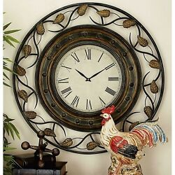 Large Rustic Round Wall Clock Scrolled Leaves Metal Frame Roman Numerals 36 Dia