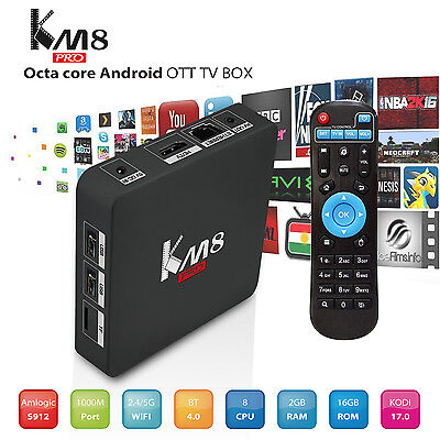 4K Media Player KM8 Pro Amlogic S912  Octa Core Android6.0 2G+16G+BT+HDMI