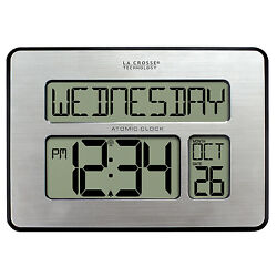 513-1419 La Crosse Technology Large 2 Numbers Atomic Digital Wall Clock IN Temp