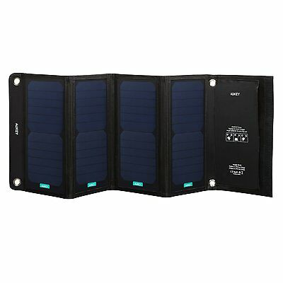 Japan New AUKEY Portable Solar Charger 28W Foldable Panel Smartphone Tablet IP