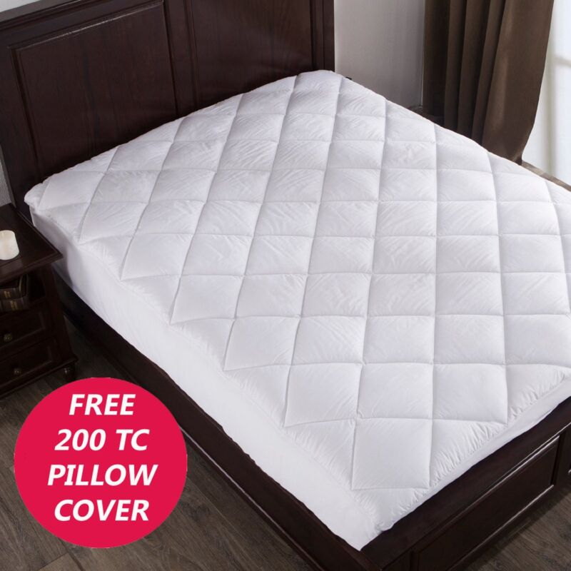 QUILTED MATTRESS  PAD COVER PROTECTOR COTTON , FITS 20INCHES DEEP HOTEL QUALITY