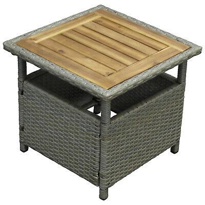 Beistelltisch Kaffeetisch Gartentisch Gartenmöbel TRENTO Rattantisch grau Akazie