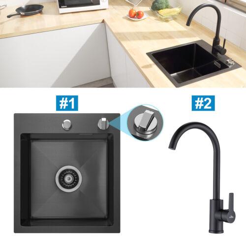Edelstahl Küchenspüle mit Ablauffernbedienung Eckig Spülbecken Einbauspüle 40x45