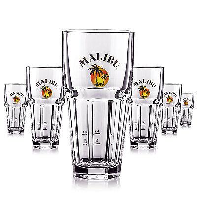 6 x Malibu Glas / Gläser 360ml Longdrink Cocktail Gastro Bar Deko NEU