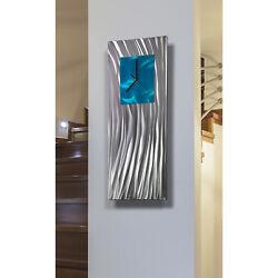 Statements2000 Modern Metal Wall Clock Art Abstract Blue Silver Decor Jon Allen