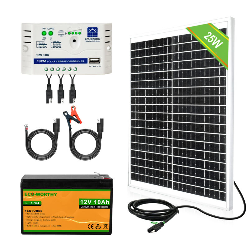 ECO 25W Solar Panel Complete Kit 10A 12V LiFePo4 Lithium Battery Off Grid System