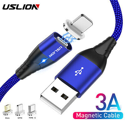 3A Magnetic Type C Micro USB Fast Charger Data Sync Charging Cord Phone Cable UK