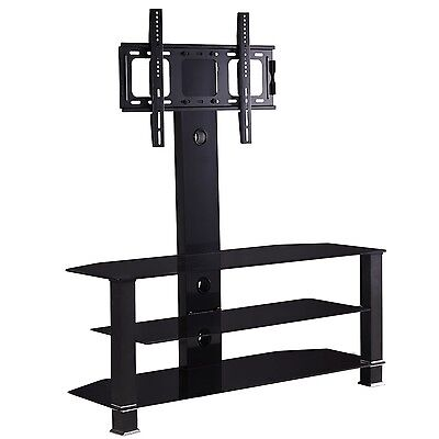Adjustable Black Glass TV Stand With Bracket for 32 to 55 inches Plasma LCD TV