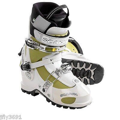 New Women's Scarpa Star Alpine Touring Ski Boots Size 25 White Green Black