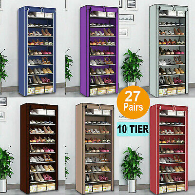 Dustproof 27 Pairs Shoe Rack Organiser Shoes Storage Cabinet Stand Shelf 10 Tier