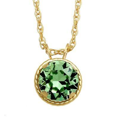 Jewelili 10K Yellow Gold Round Swarovski Crystal Peridot Solitaire Pendant Ne...