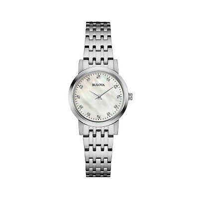 Bulova Women's 96P175 Quartz Diamond Accent Silver-Tone Bracelet 27mm Watch