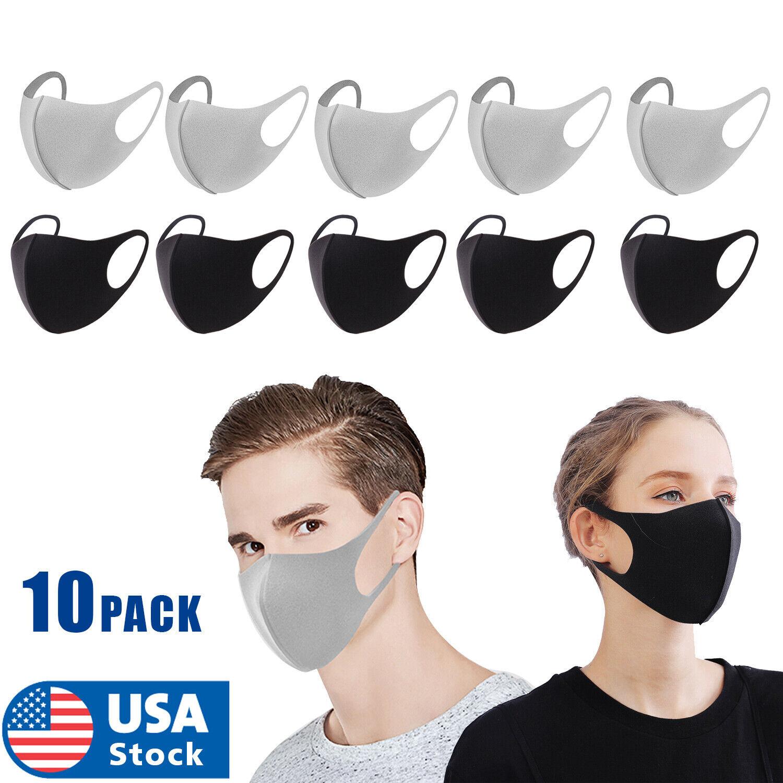 10PCs Black Face Fashion Mask US SELLER Washable Reusable Unisex Adult Accessories