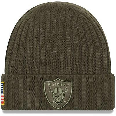 (OAKLAND RAIDERS BEANIE HAT CAP SALUTE TO SERVICE army GREEN NEW ERA flag )