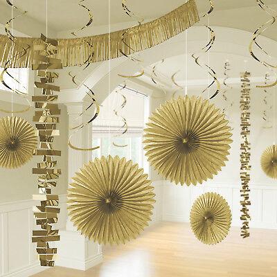 Dekorations Set gold 18 tlg Fans Girlanden Swirls glitzernd Goldene Hochzeit