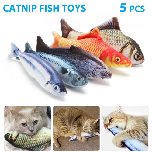 5 Pack Realistic Interactive Fish Cat Kicker Crazy Pet Toy Catnip Toys Gifts