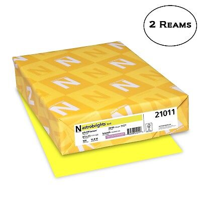 2 Reams Astrobrights Color Paper 8.5 X 11 24 Lb Lift-off Lemon 500 Sheets