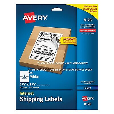 Avery 8126 InkJet MAIL LABELS 50 pk Perforated WHT TrueBlock UPS Postal