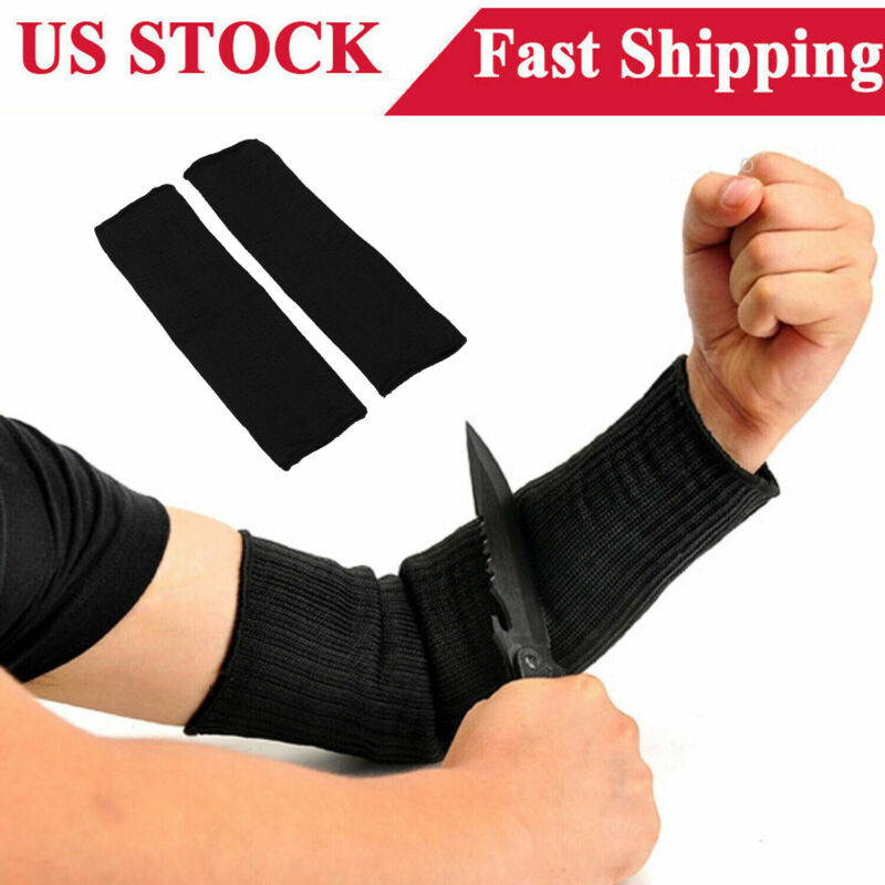 1Pair Arm Guard Stainless Steel Wire Cut Proof Bracer Wrist Armband Sleeve Black