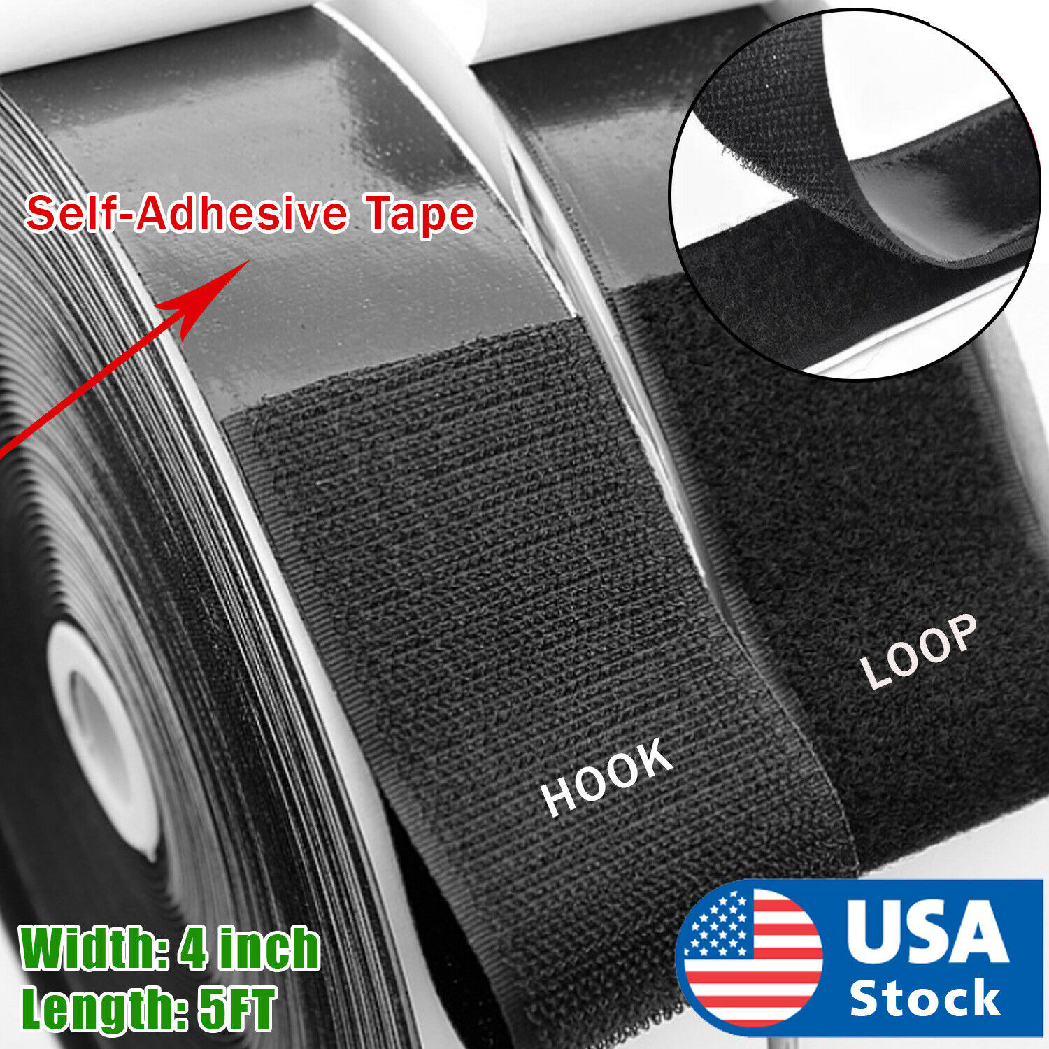 4 inch 5 Feet Self Adhesive Tape Hook and Loop Fastener Extra Sticky Back USA Closures & Connectors