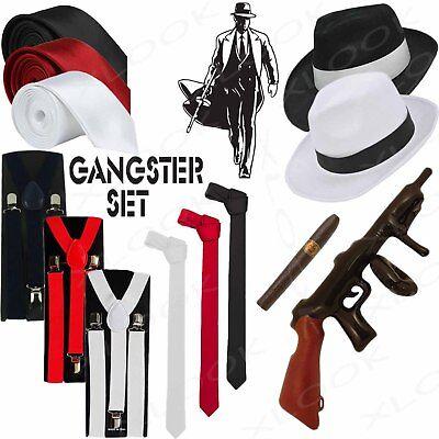 GANGSTER HAT BRACES TIE CIGAR TOMMY GUN 5 PIECE 1920'S FANCY DRESS COSTUME SET